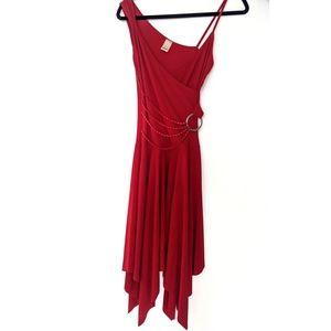 Red Wrap Midi Dress